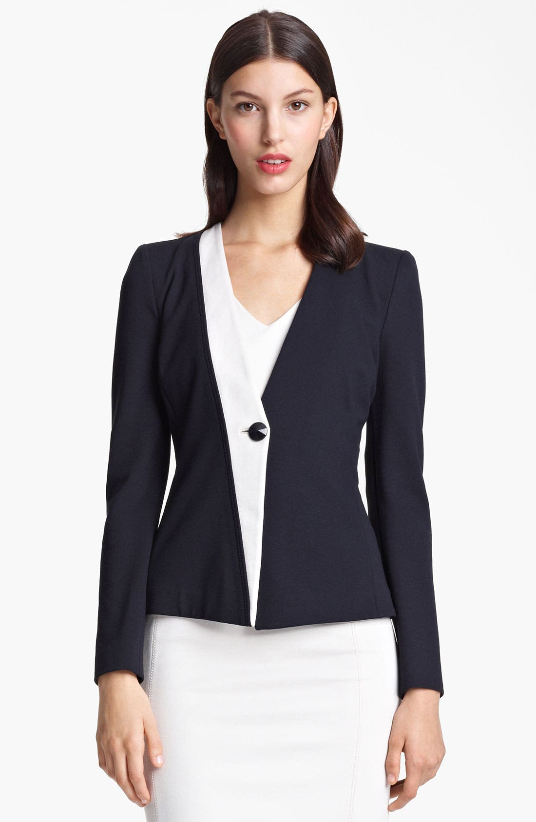 Main Image - Armani Collezioni One Button Jersey Jacket