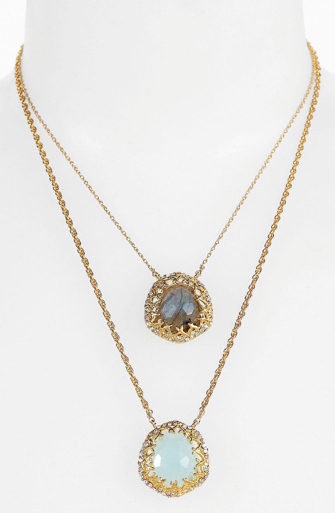 'Elements - Siyabona' Double Pendant Necklace,                             Main thumbnail 1, color,                             Gold/ Chalcedony / Labradorite