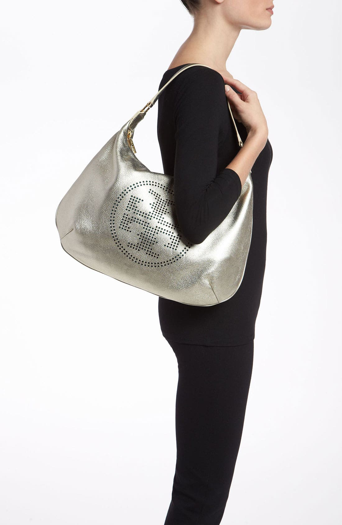Alternate Image 2  - Tory Burch Perforated Logo Metallic Leather Hobo