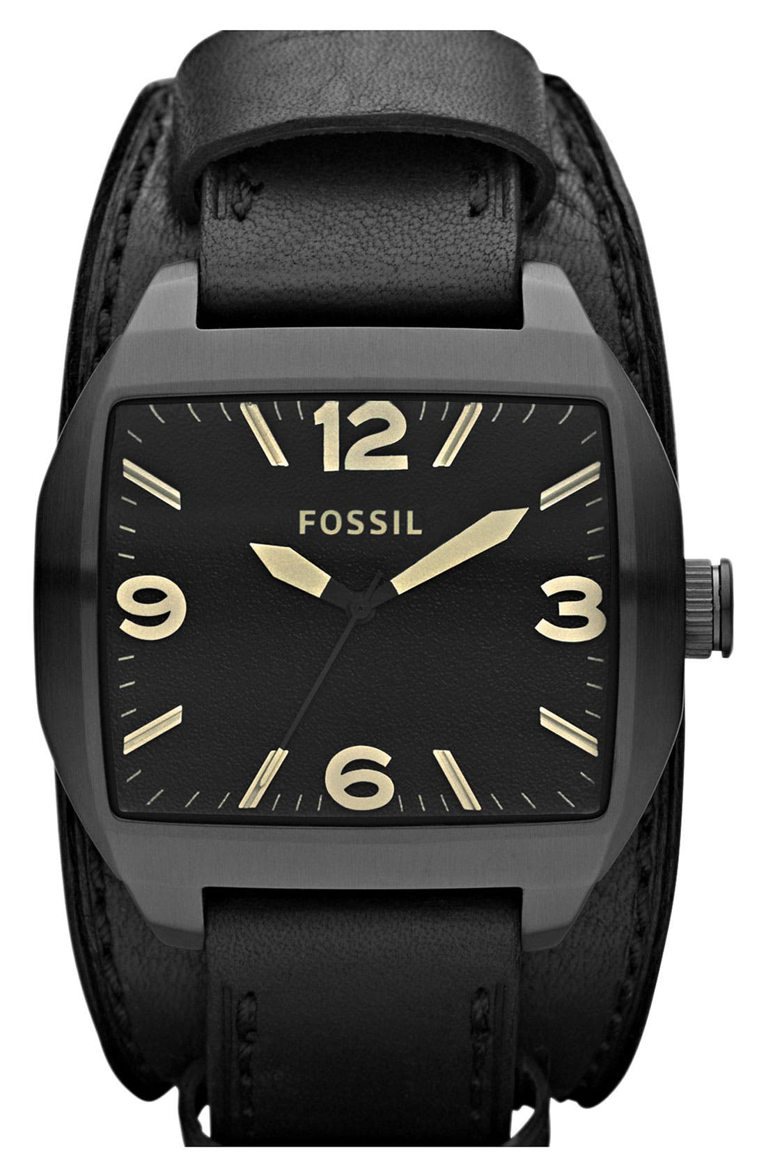 Alternate Image 1 Selected - Fossil 'Roland' Leather Cuff Watch, 38mm x 44mm