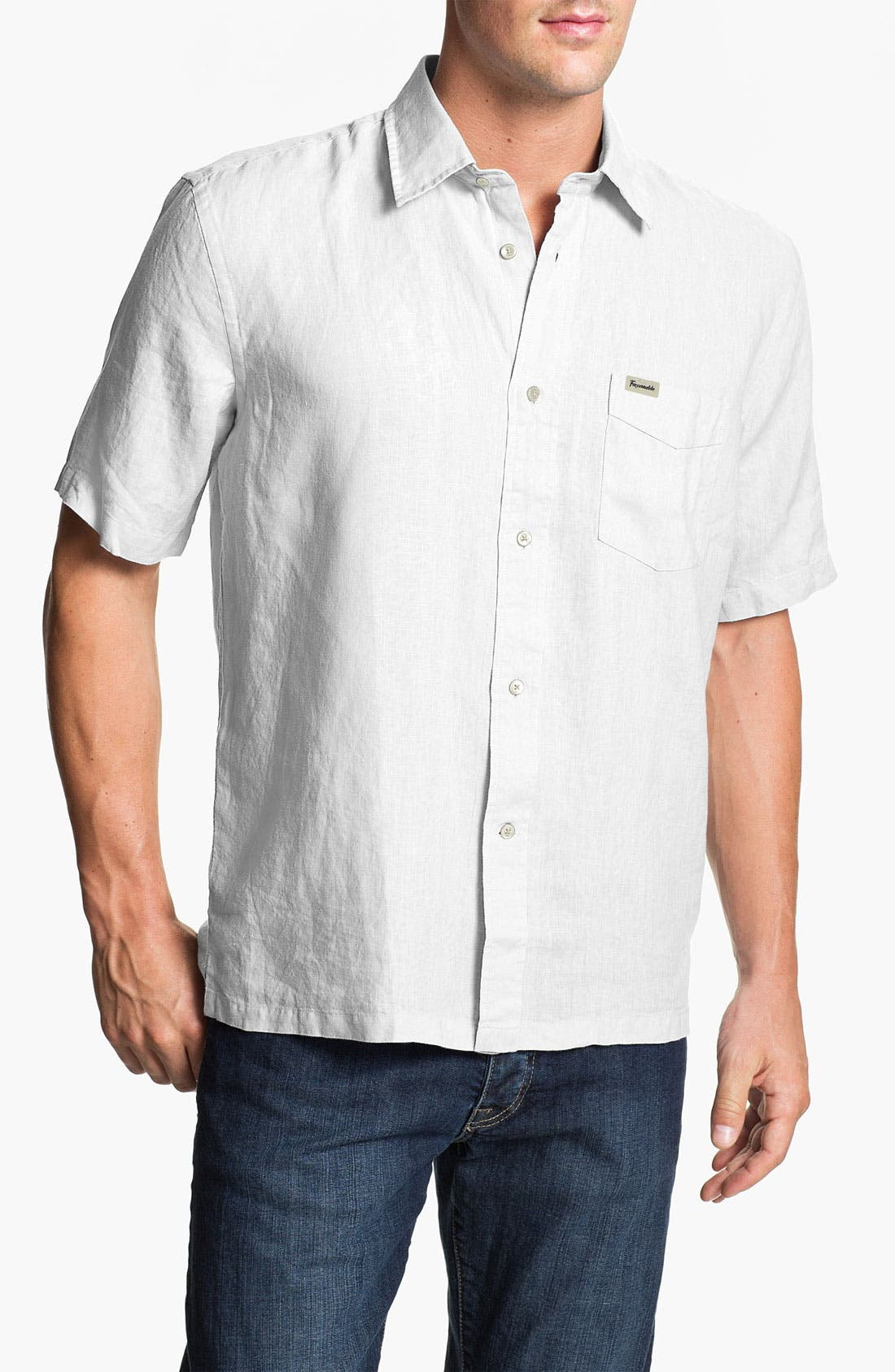 Alternate Image 1 Selected - Façonnable Classic Fit Short Sleeve Linen Sport Shirt
