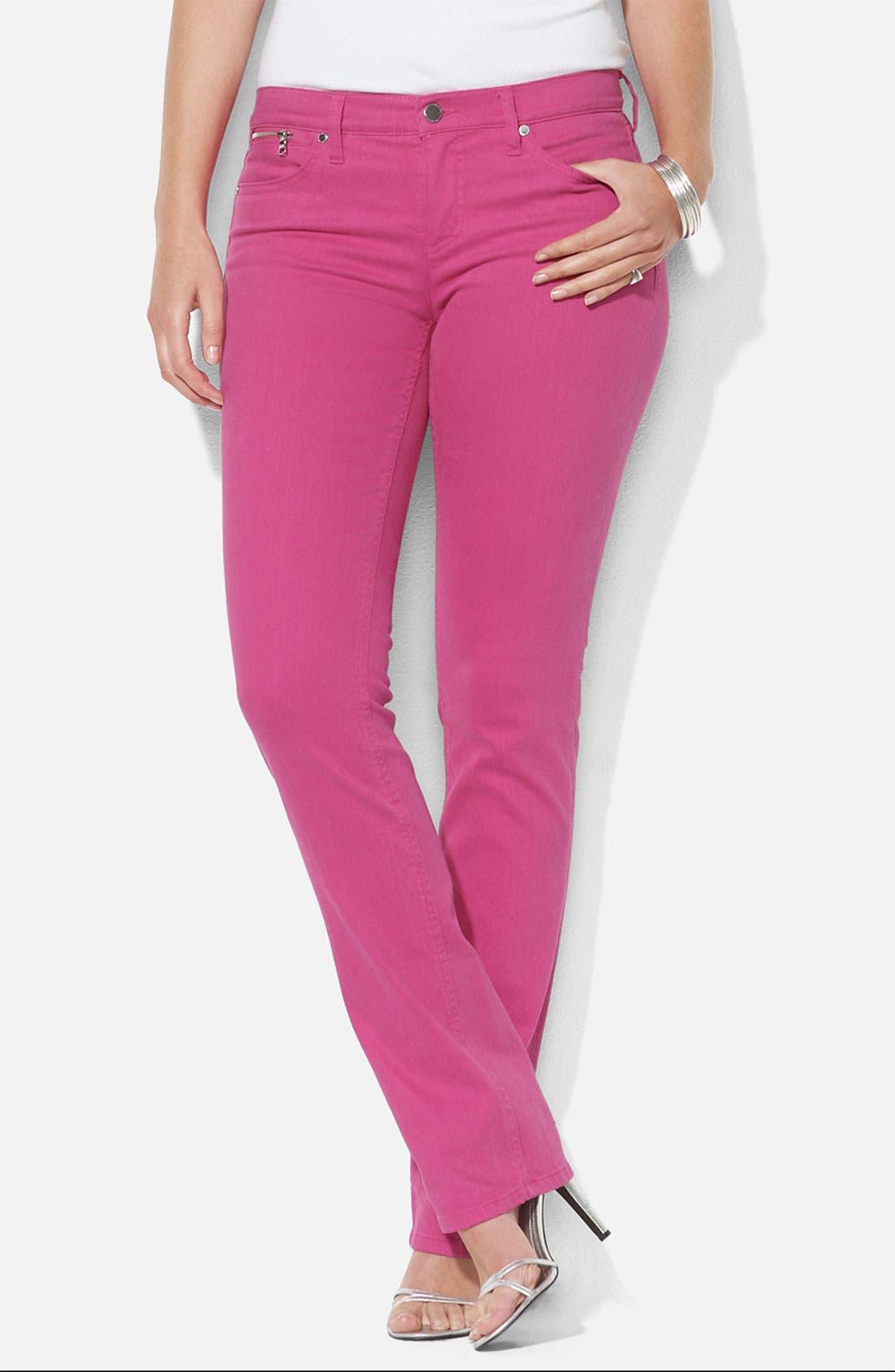 Alternate Image 1 Selected - Lauren Ralph Lauren Slim Straight Leg Colored Jeans (Plus)