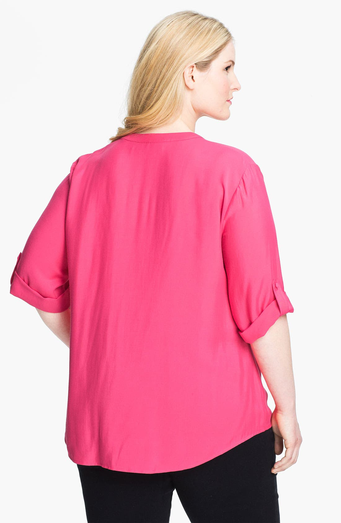 Alternate Image 2  - Sejour Roll Sleeve Split V-Neck Shirt