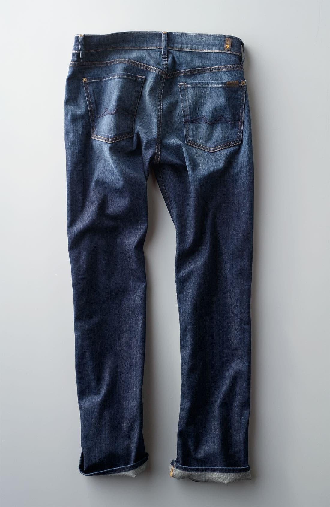 Alternate Image 5  - 7 For All Mankind® 'Standard' Straight Leg Jeans (Worn L.A. Dark)