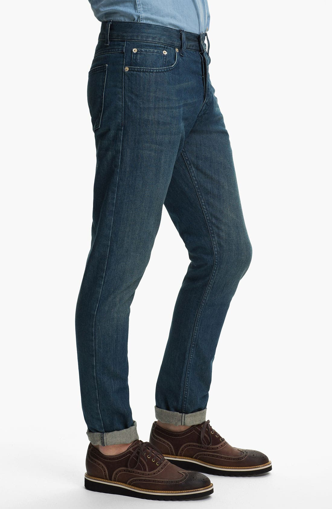 Alternate Image 3  - Topman 'Isaac' Vintage Slim Fit Jeans (Mid Blue)