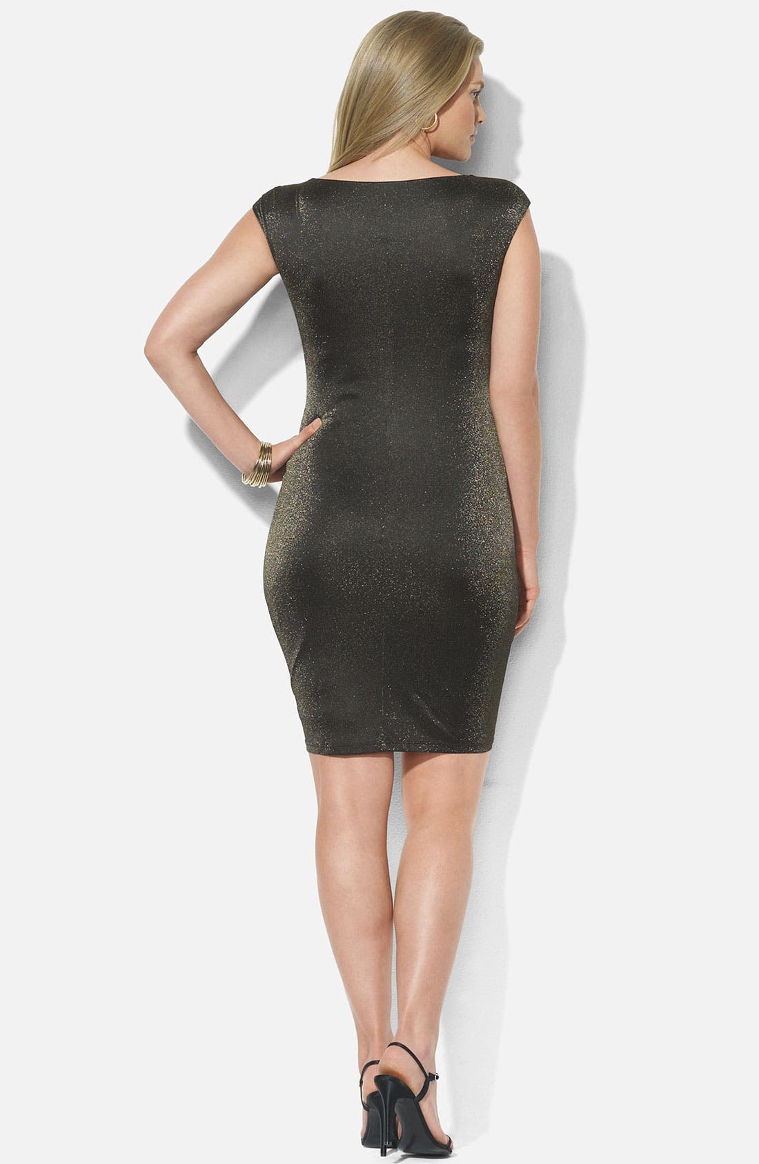 Alternate Image 2  - Lauren Ralph Lauren Metallic Knit Sheath Dress (Plus)