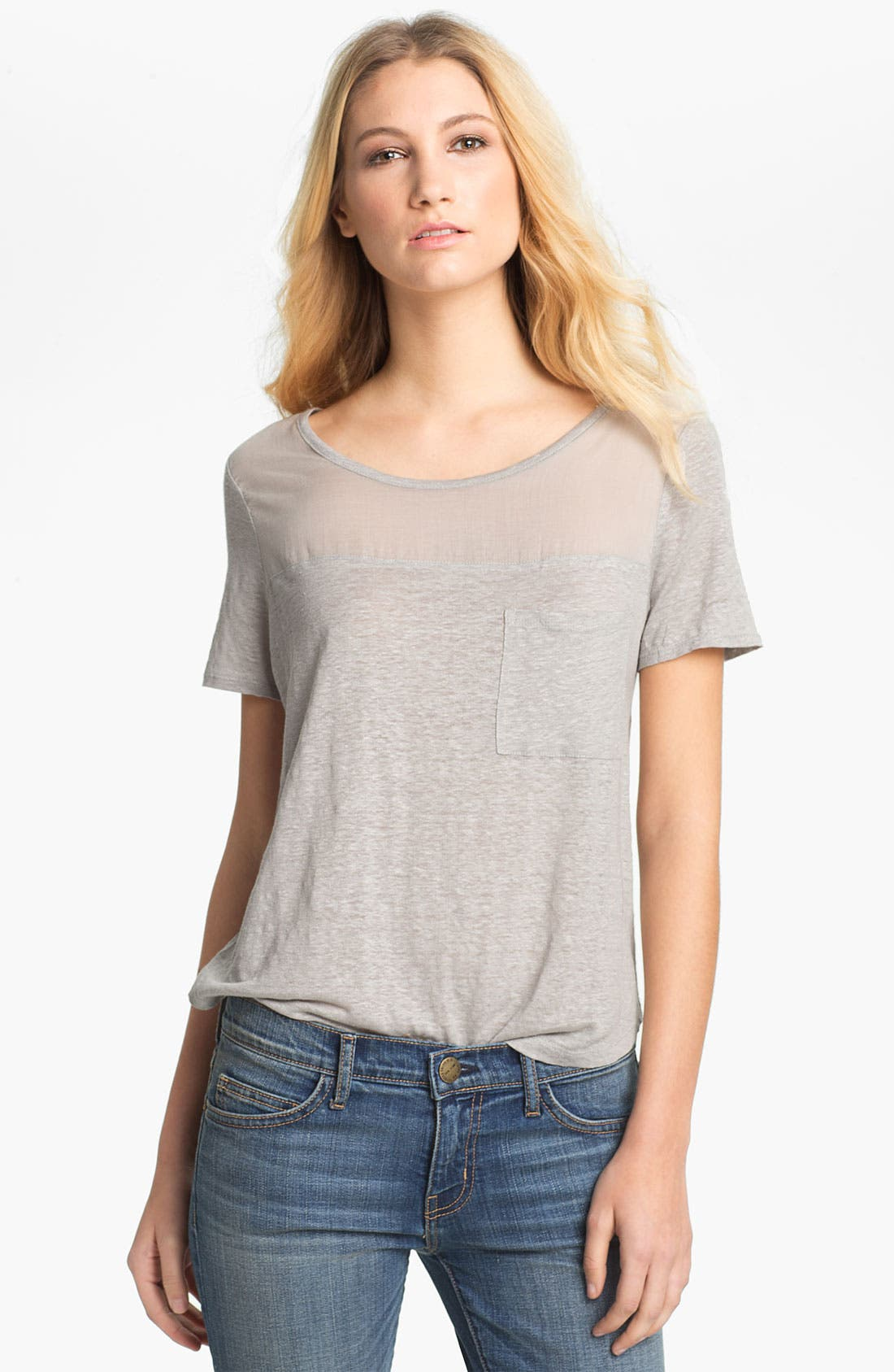 Alternate Image 1 Selected - Soft Joie 'Rhett' Sheer Yoke Pocket Tee