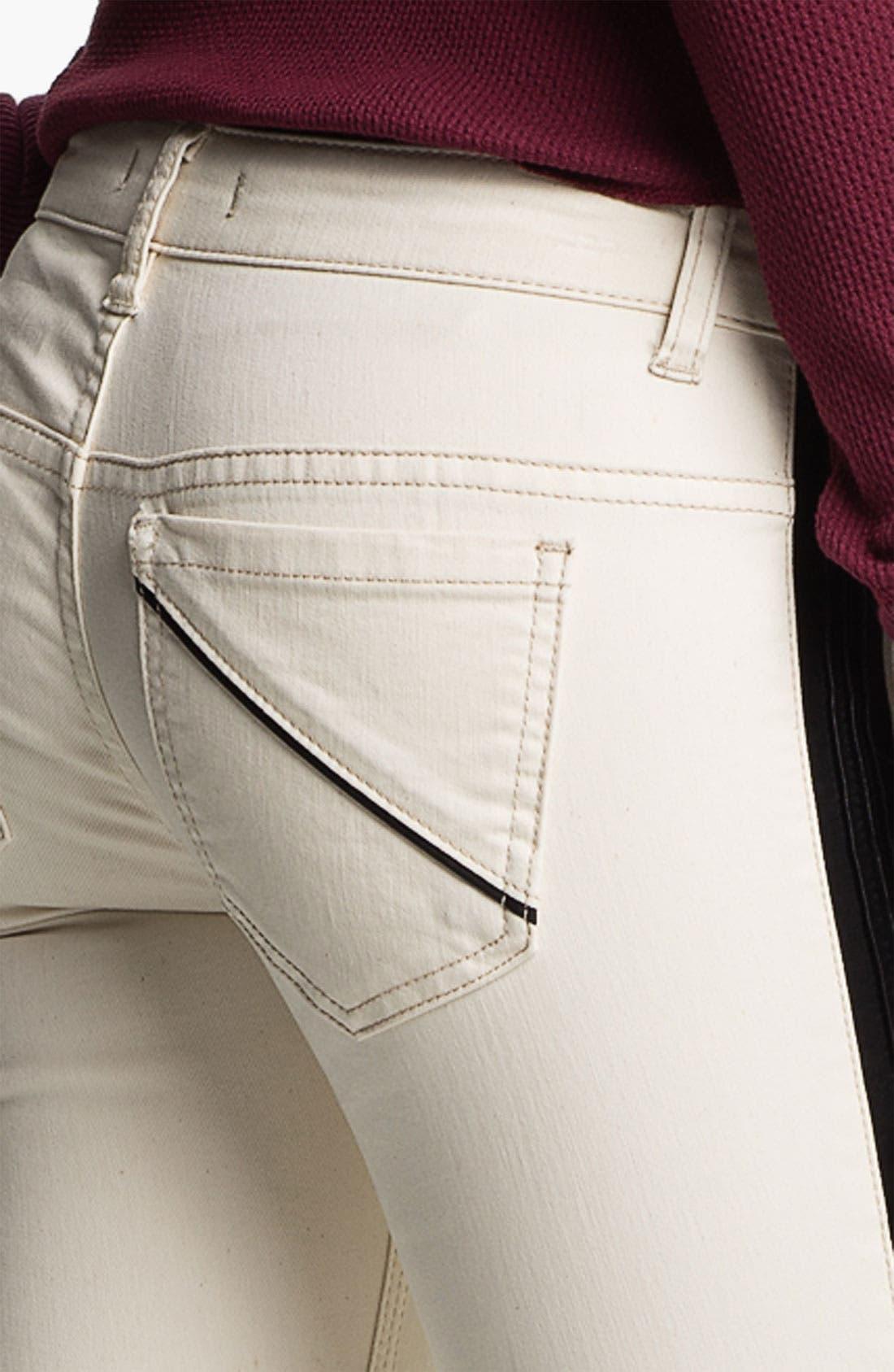 Alternate Image 3  - Free People Faux Leather Stripe Skinny Jeans (Ecru)