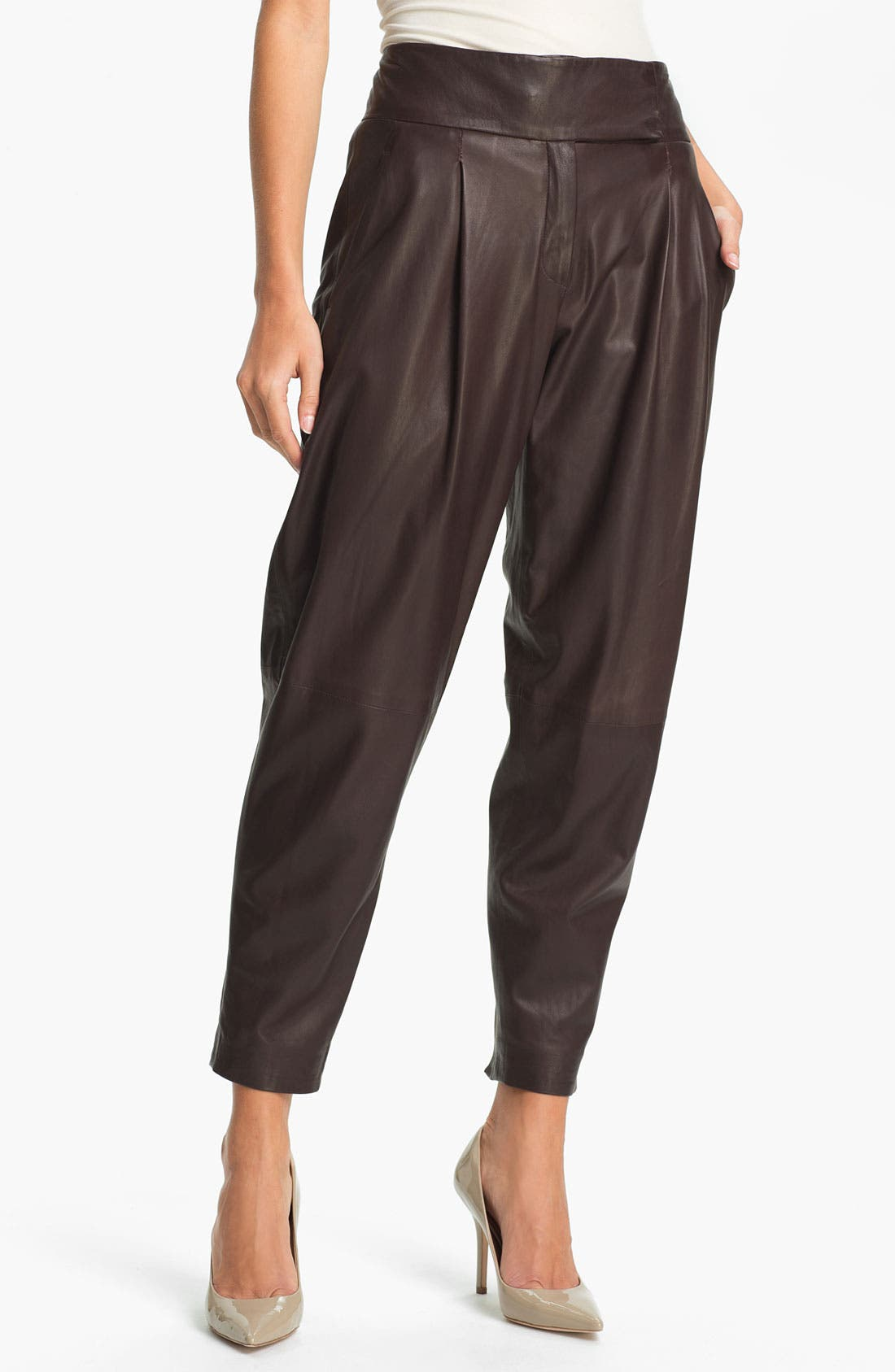 Main Image - Theory 'Kina L.' Tapered Leather Pants