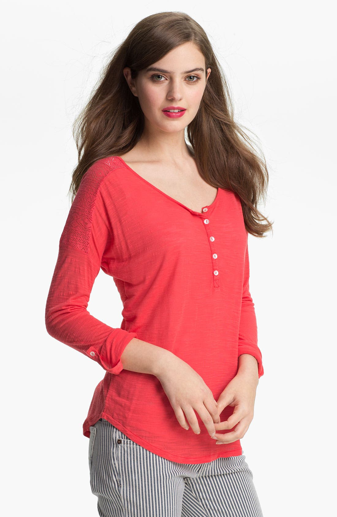 Alternate Image 1 Selected - Lucky Brand 'Carla' Lace Trim Henley