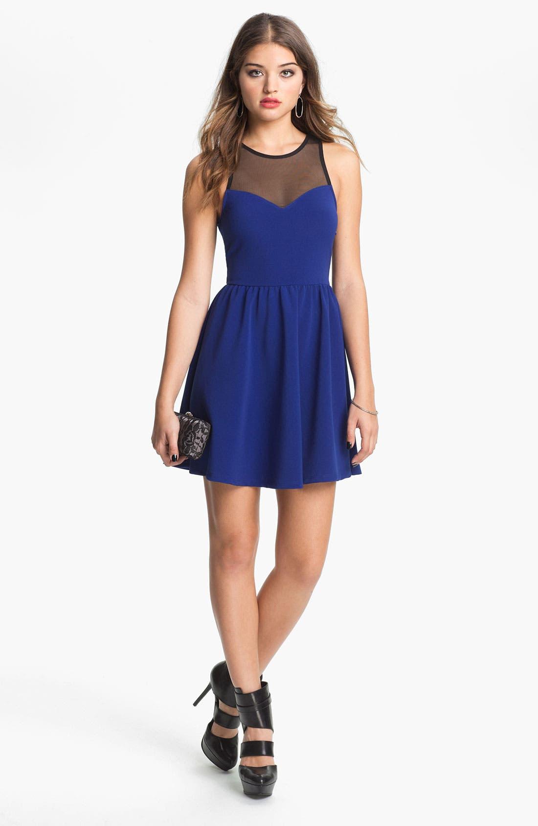 Lush Illusion Fit & Flare Dress,                         Main,                         color, Blue