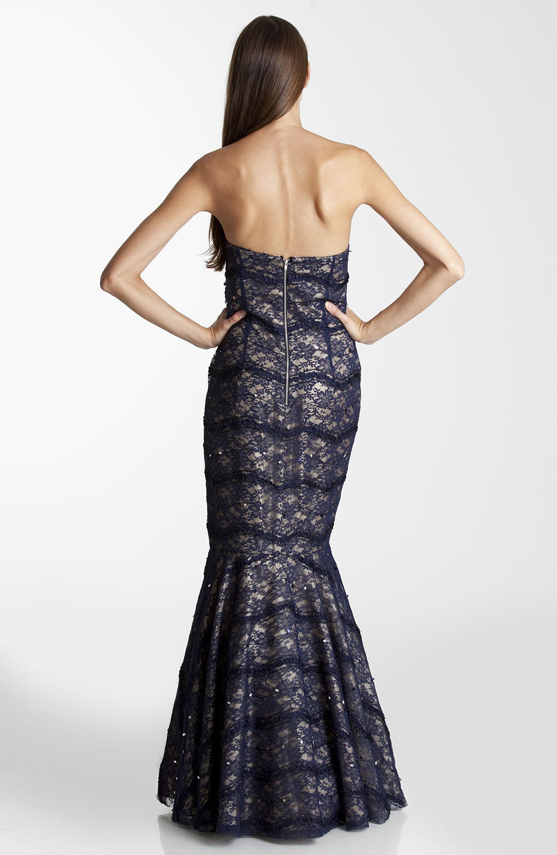 Alternate Image 2  - JS Collections Strapless Lace Trumpet Gown