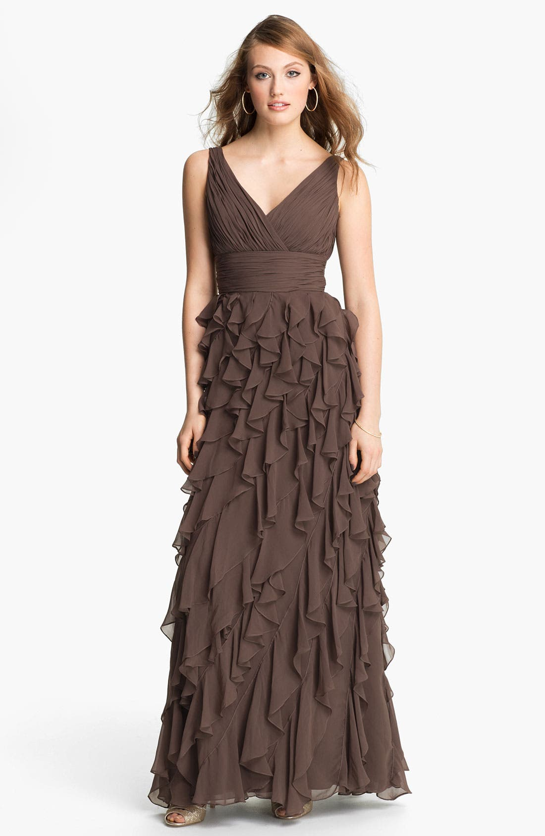 Main Image - Dalia MacPhee Ruffle Chiffon Gown