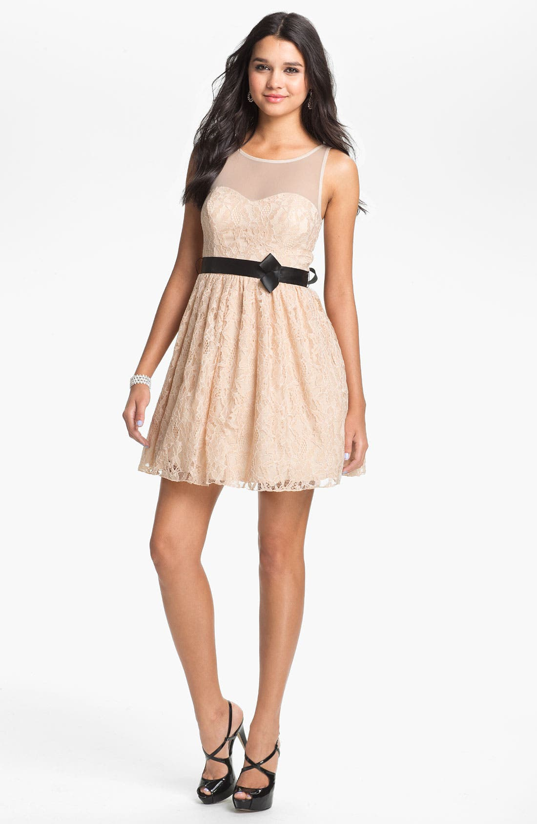 Illusion Lace Fit & Flare Dress,                         Main,                         color, Pink