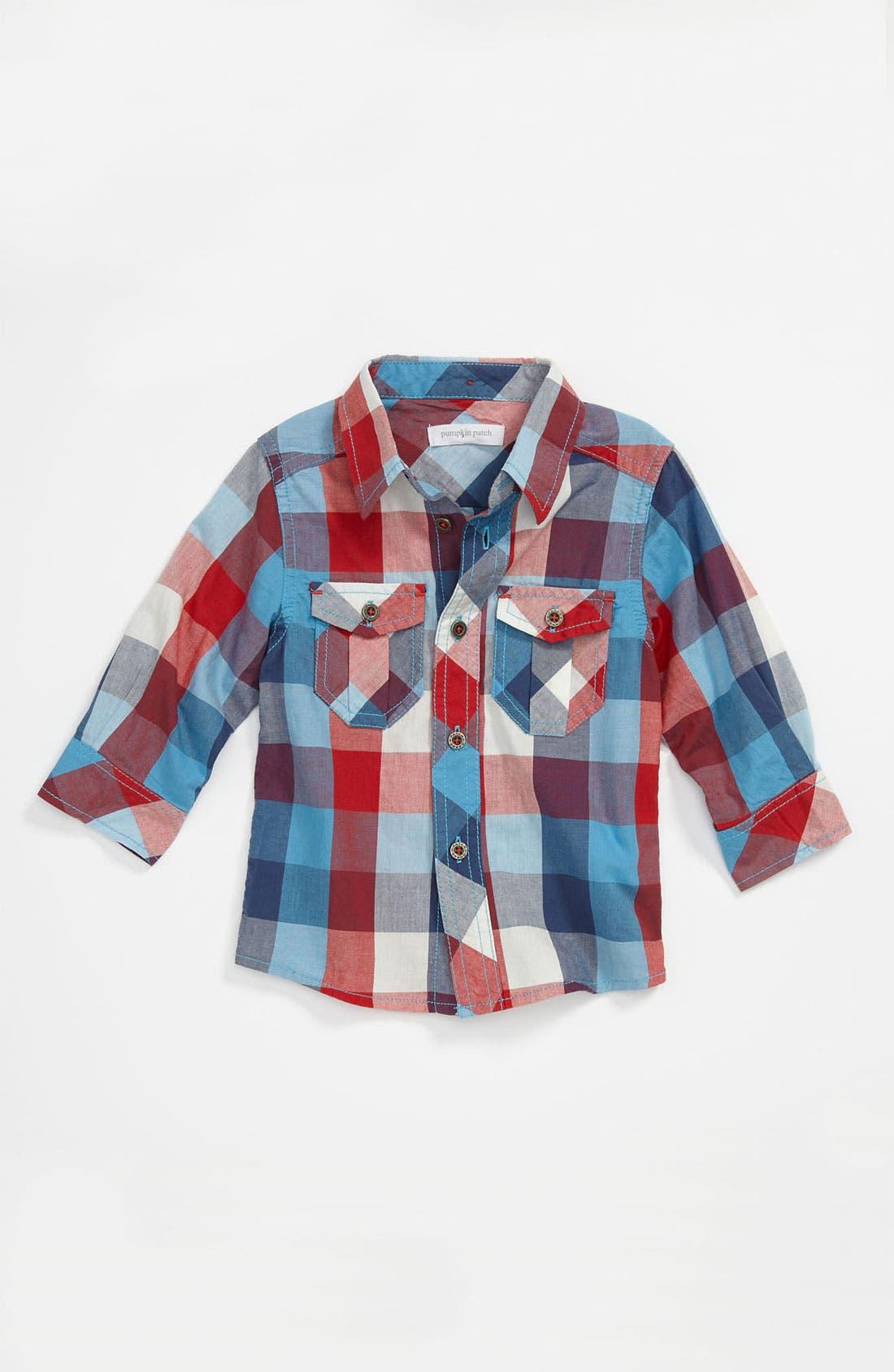 Alternate Image 1 Selected - Pumpkin Patch Gingham Shirt (Infant)