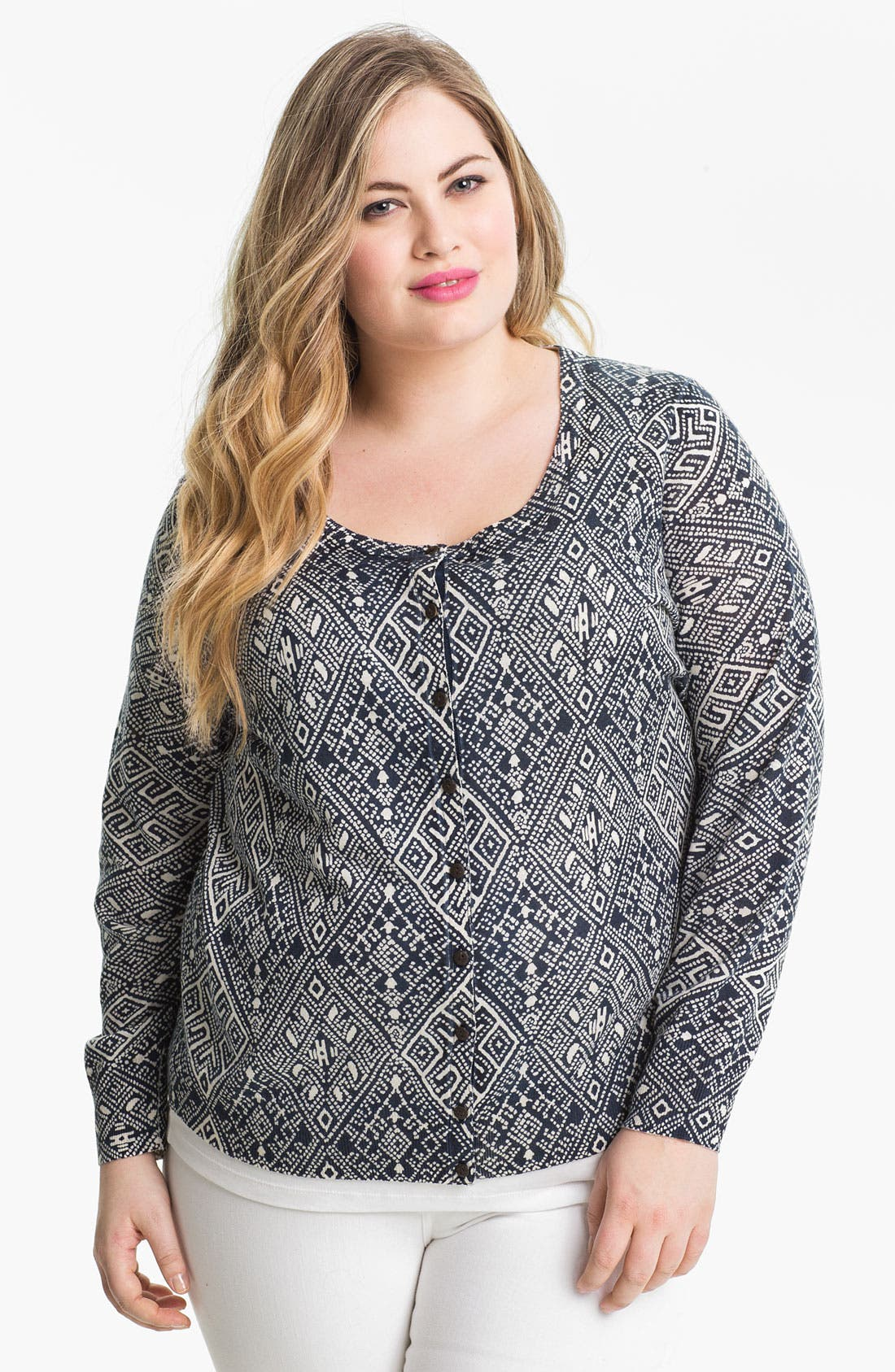Alternate Image 1 Selected - Lucky Brand Print Cardigan (Plus Size)
