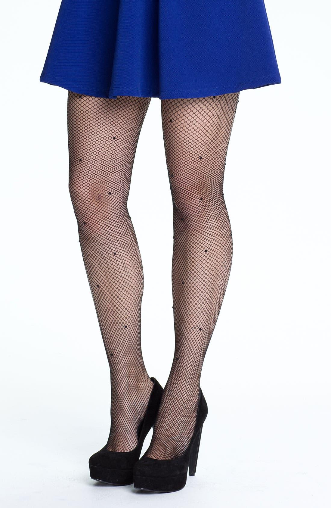 Main Image - kate spade new york jeweled fishnet tights