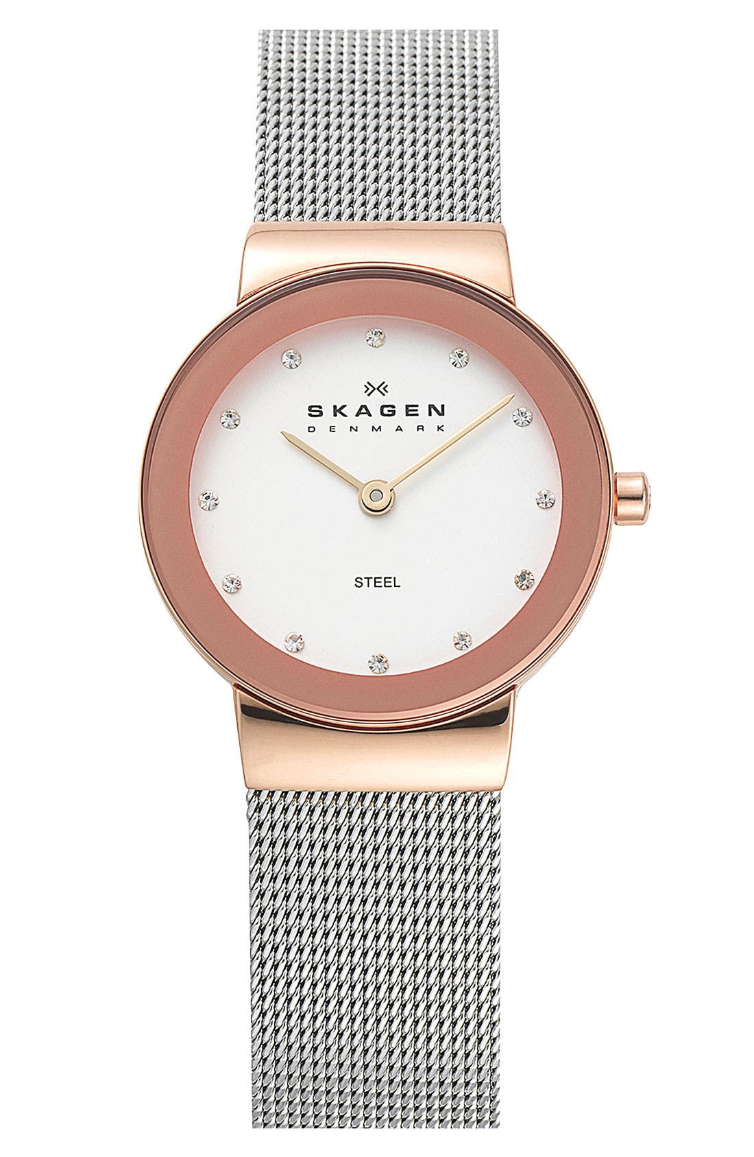 Alternate Image 1 Selected - Skagen Round Case Mesh Strap Watch, 26mm