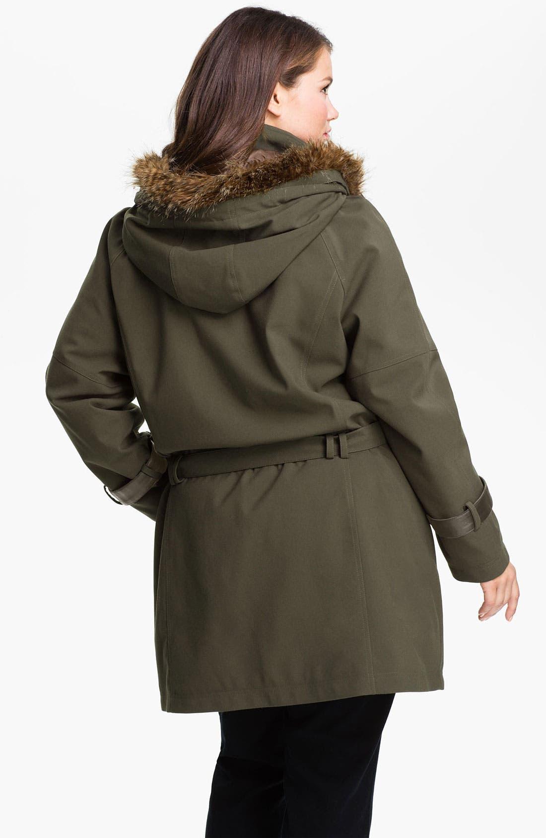 Alternate Image 2  - Kristen Blake Belted Coat with Faux Fur Trim (Plus)