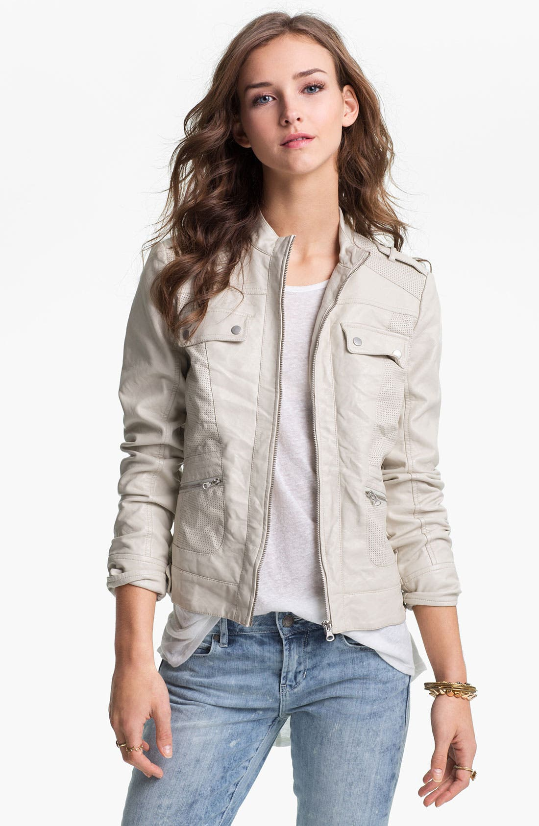 Alternate Image 1 Selected - Collection B Perforated Faux Leather Jacket (Juniors)
