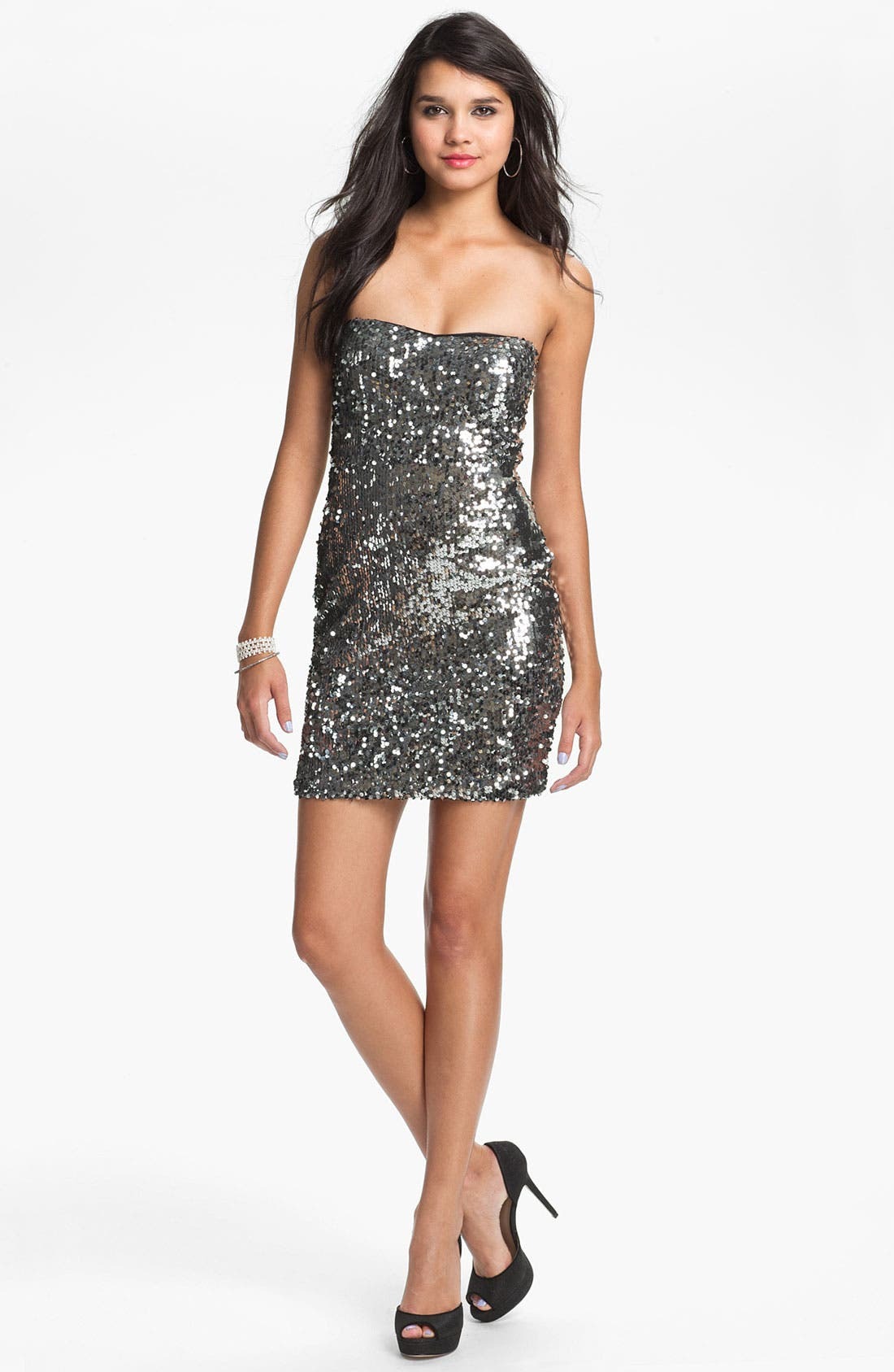 Alternate Image 1 Selected - As U Wish Strapless Sequin Dress (Juniors) (Online Exclusive)