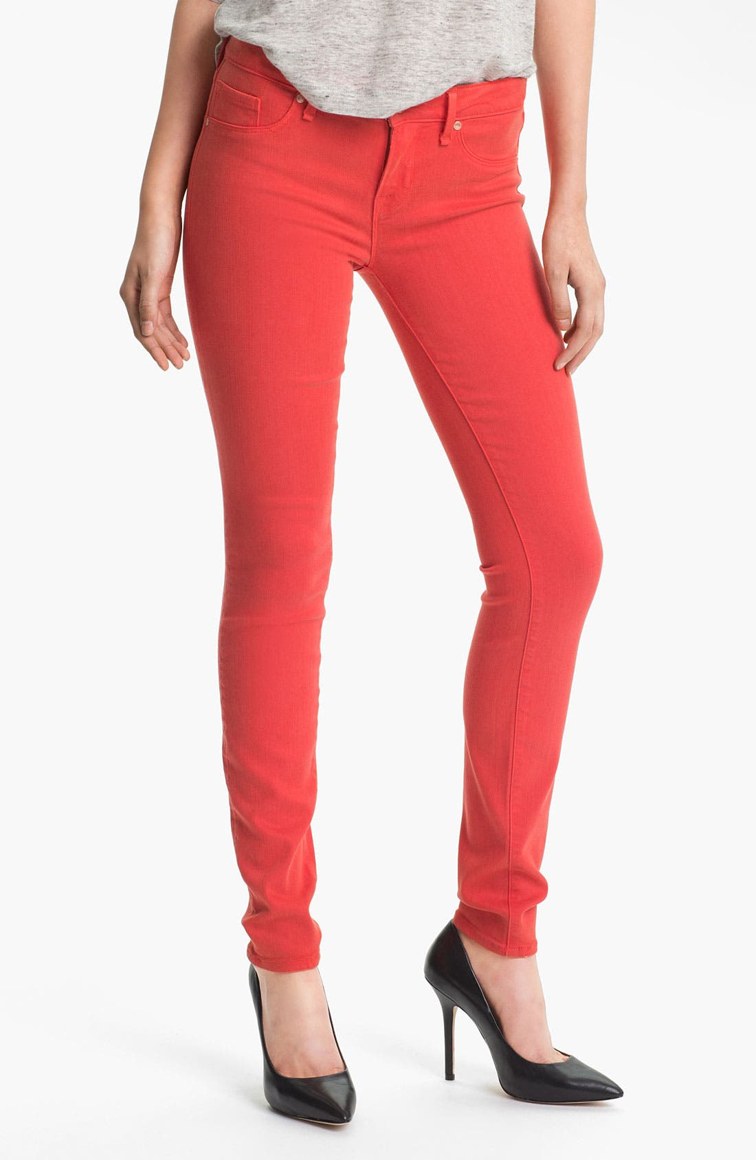 Main Image - MARC BY MARC JACOBS 'Stick' Colored Skinny Stretch Jeans (Flamingo Red)