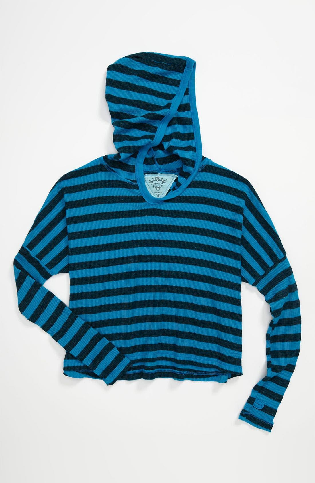 Alternate Image 1 Selected - T2 Love Stripe Hoodie (Big Girls)