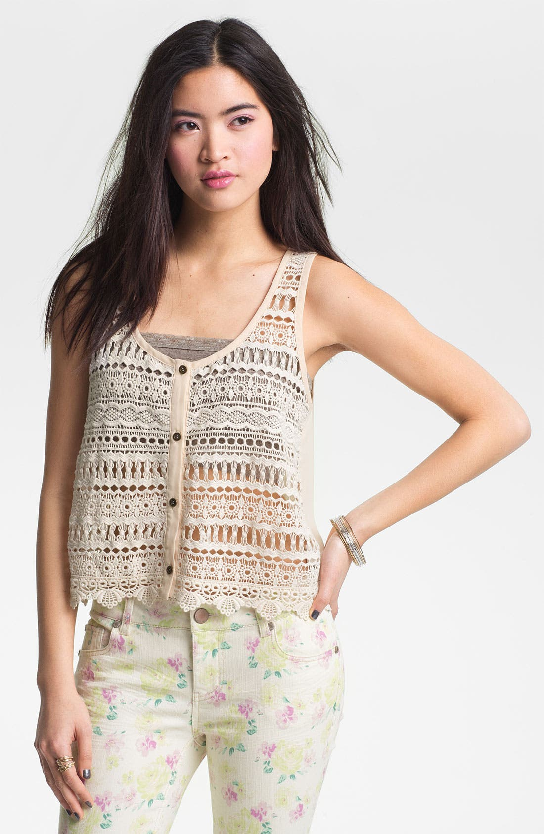 Alternate Image 1 Selected - Chloe K Crochet Tank (Juniors)
