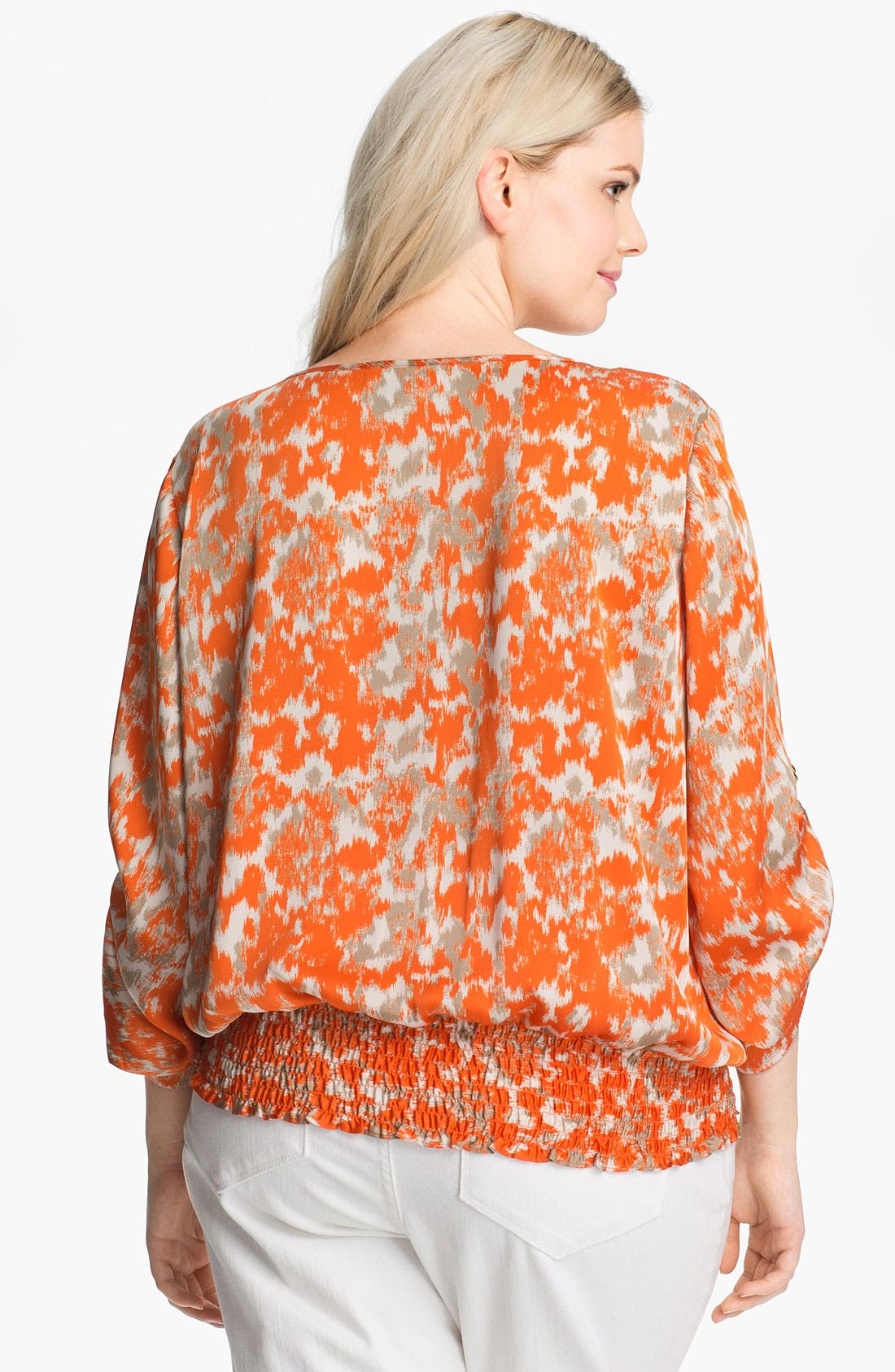 Alternate Image 2  - MICHAEL Michael Kors Print Peasant Top (Plus)