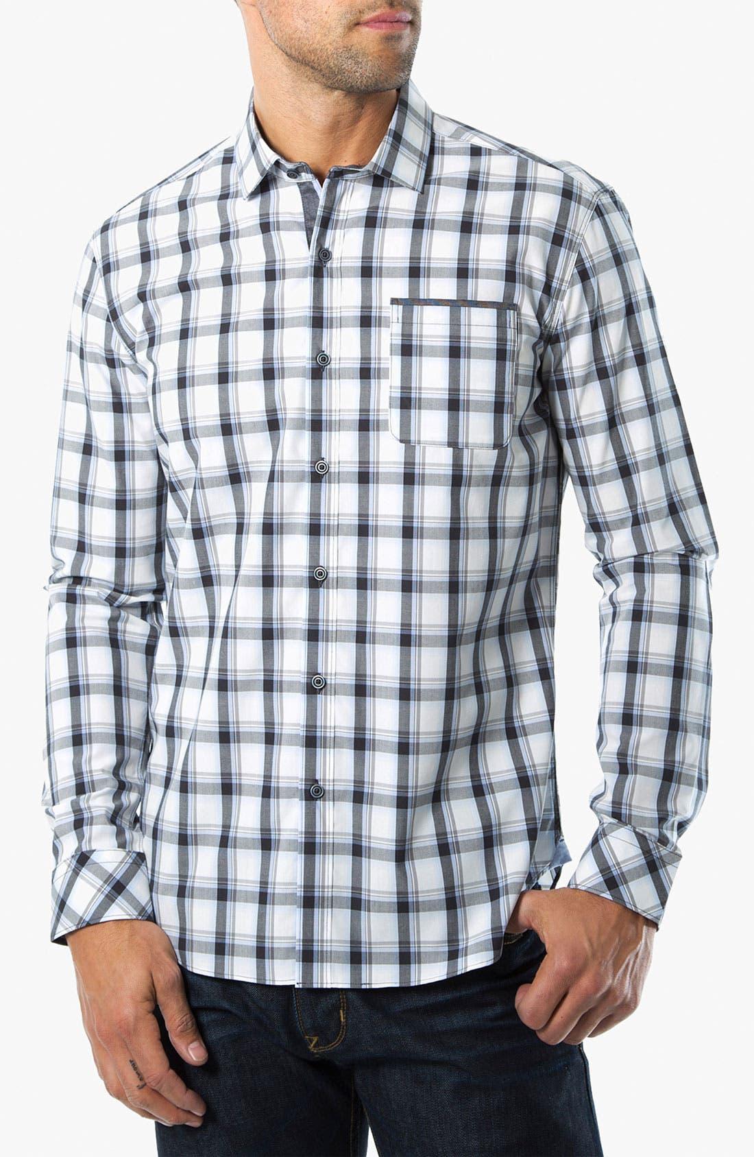 Main Image - 7 Diamonds 'Crossroads' Check Trim Fit Cotton Sport Shirt