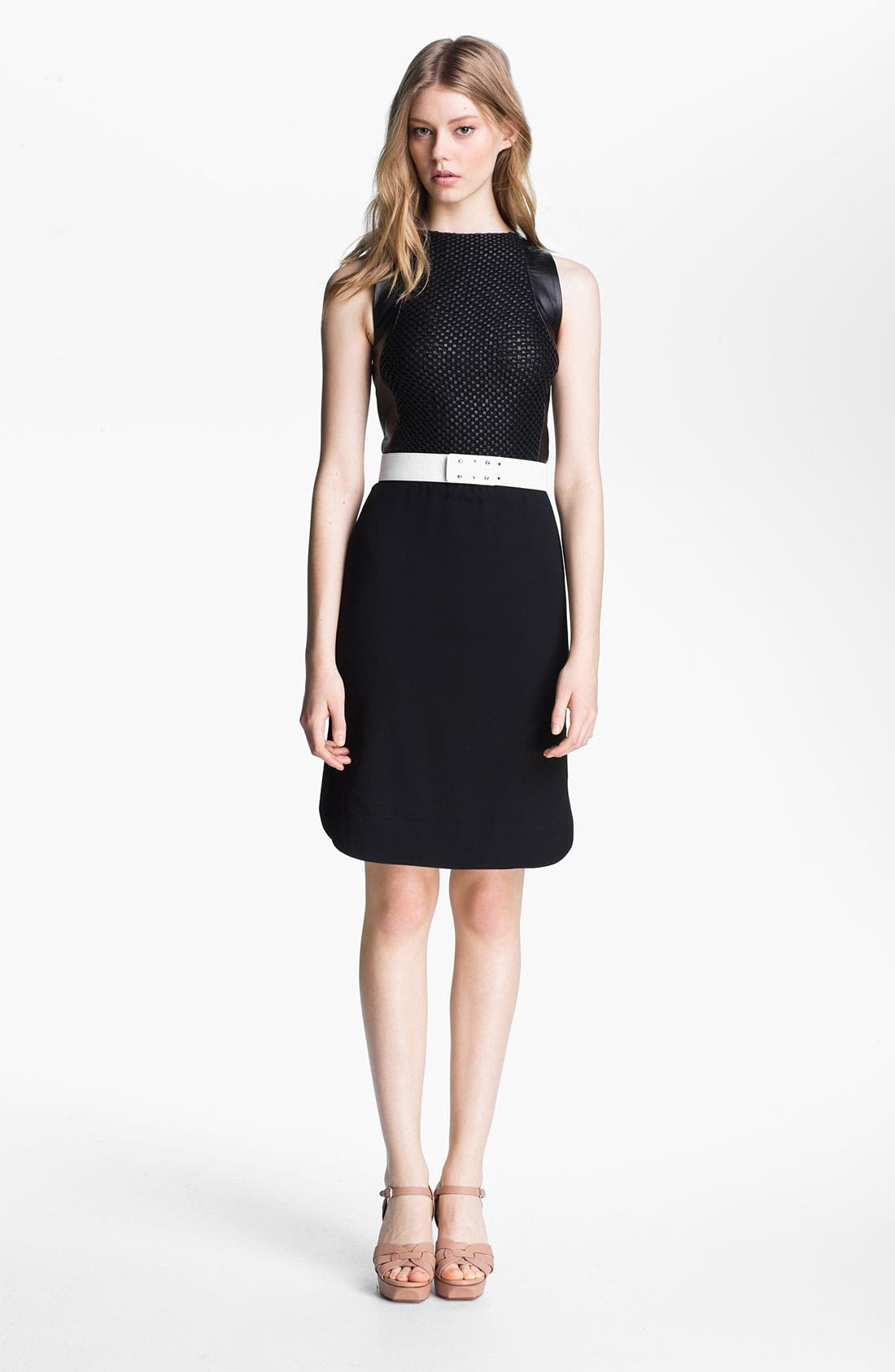Main Image - L'AGENCE Leather Bodice Crepe Dress