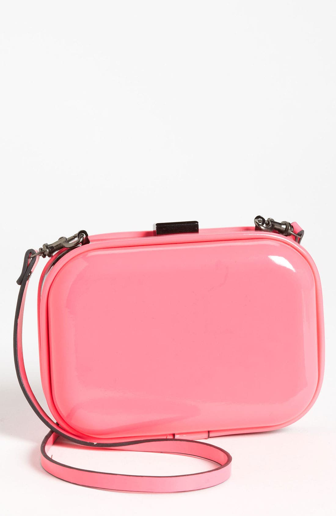 Natasha Couture Patent Box Clutch,                         Main,                         color, Hot Pink