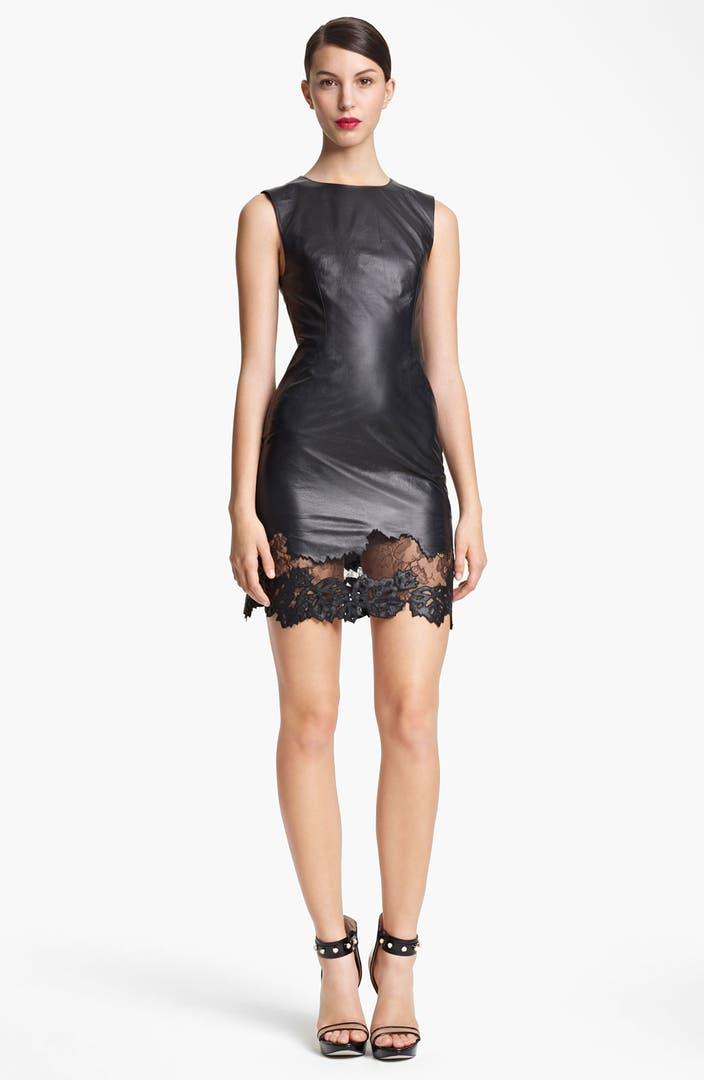 Jason Wu Lambskin Leather Amp Lace Sheath Dress Nordstrom