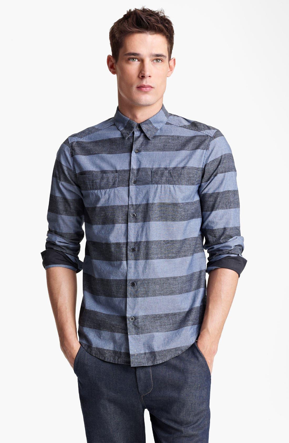 Main Image - Rogan 'Kaleef' Stripe Chambray Shirt