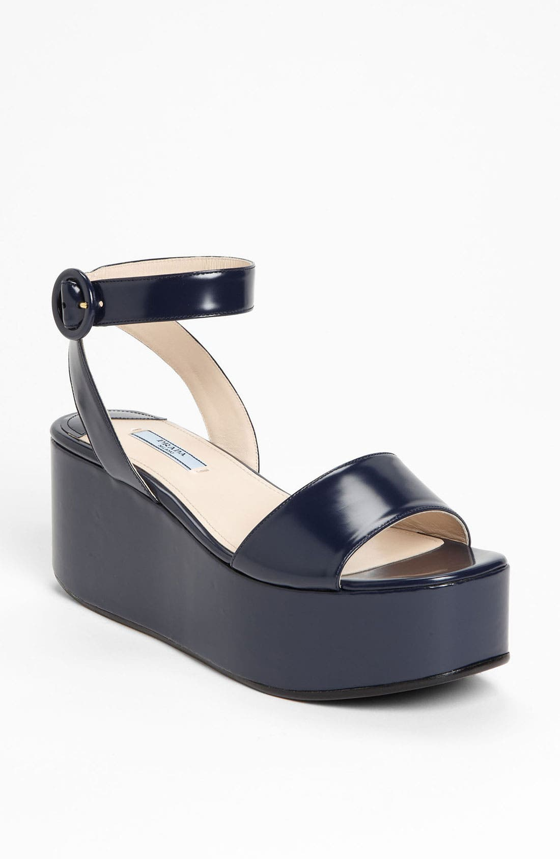 Alternate Image 1 Selected - Prada Ankle Strap Wedge Sandal