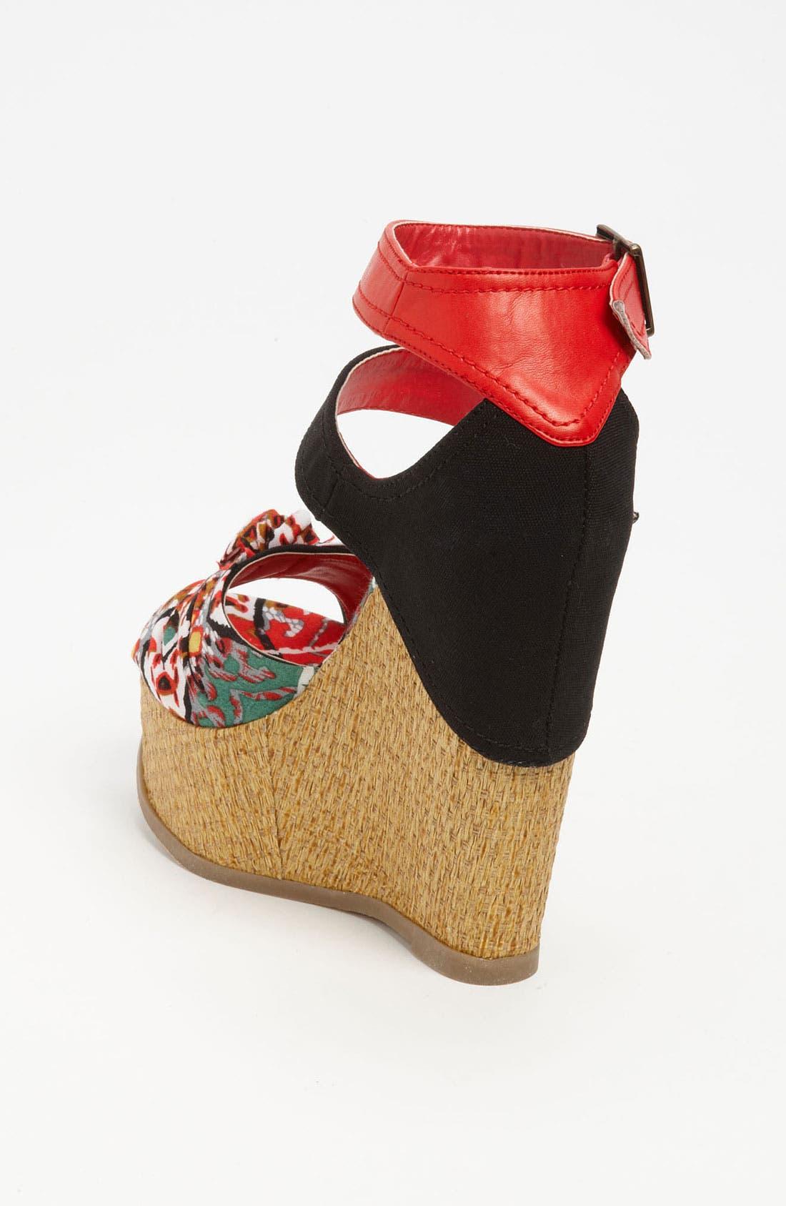 'Ellie' Wedge Sandal,                             Alternate thumbnail 2, color,                             Red