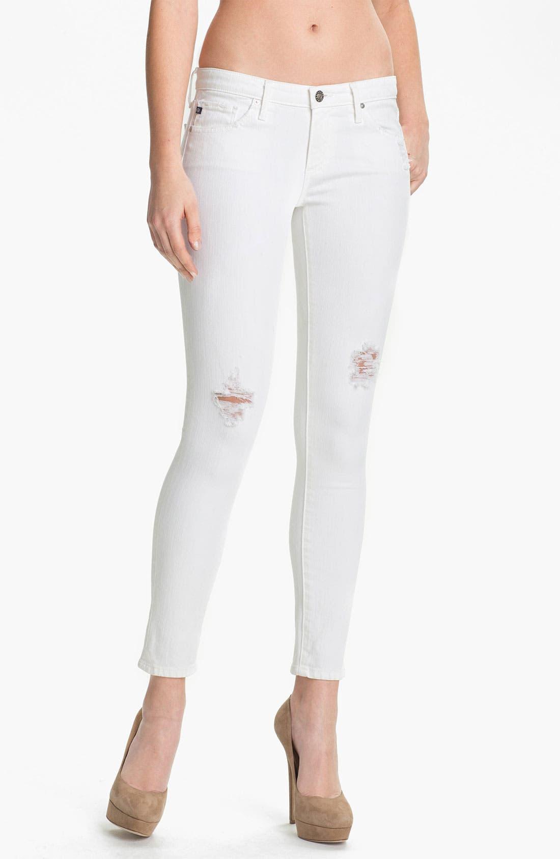Alternate Image 1 Selected - AG Jeans Skinny Ankle Jeans (White Thrasher)
