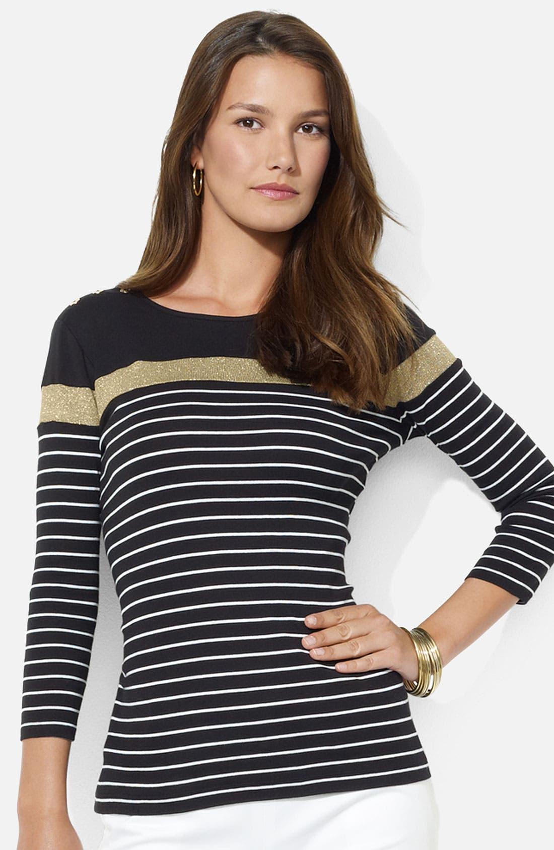 Alternate Image 1 Selected - Lauren Ralph Lauren Button Shoulder Stripe Tee (Petite)