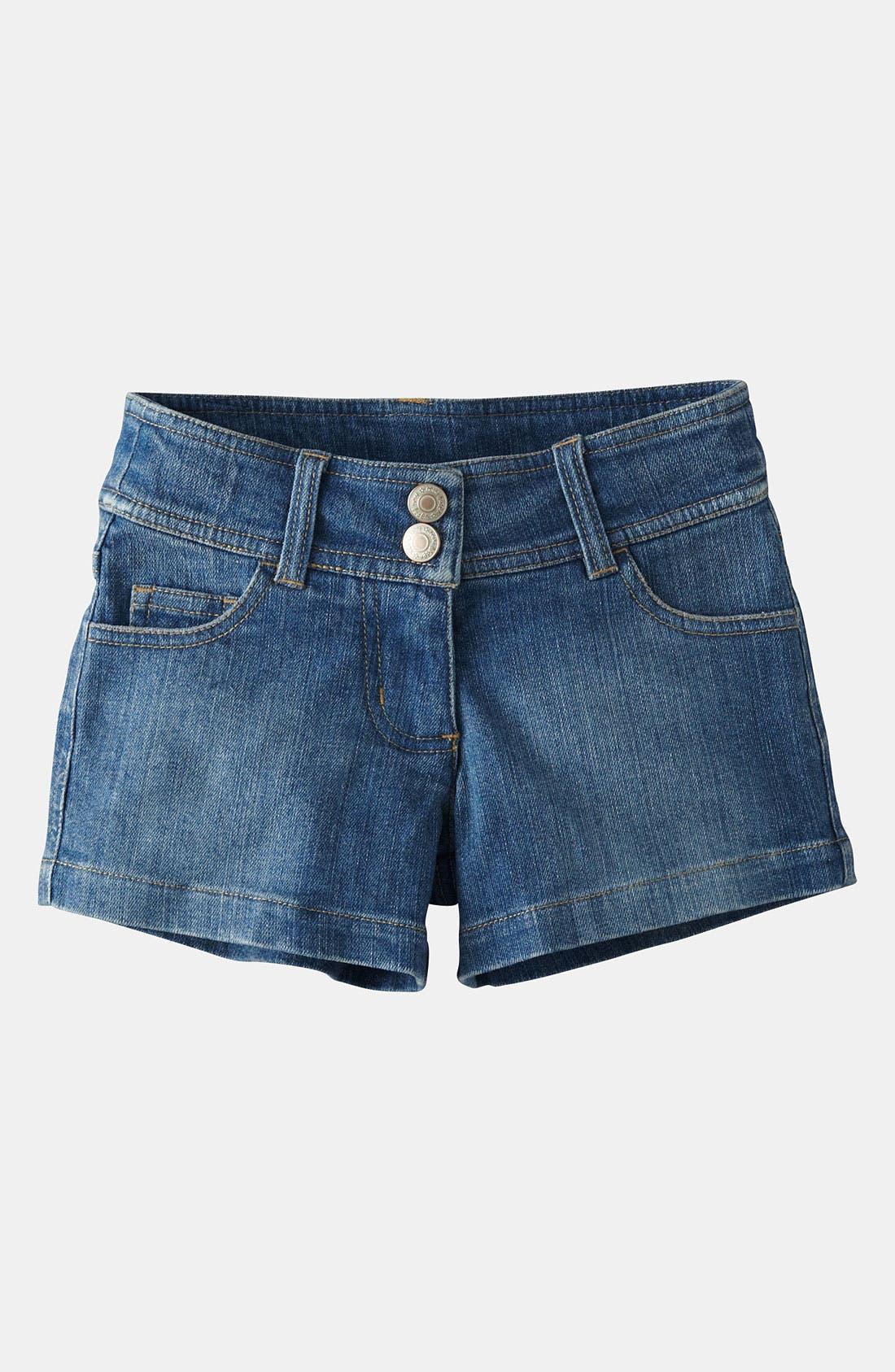 Alternate Image 1 Selected - Mini Boden 'Heart Pocket' Denim Shorts (Toddler, Little Girls & Big Girls)