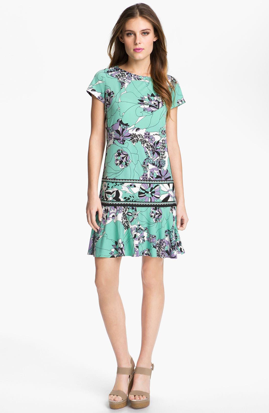 Main Image - Donna Morgan Drop Waist Print Jersey Dress