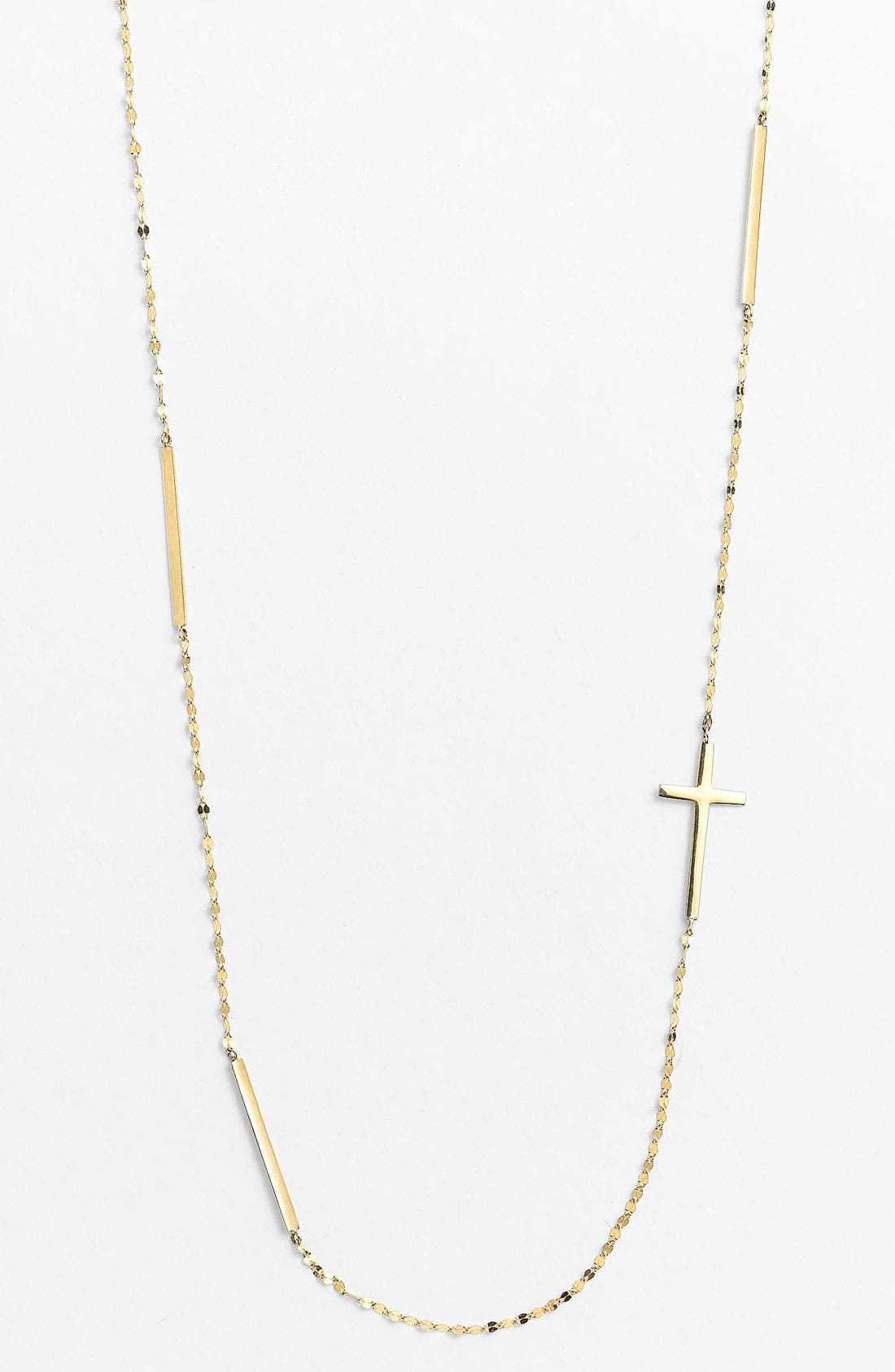 Bar & Cross Station Necklace,                         Main,                         color, Yellow Gold