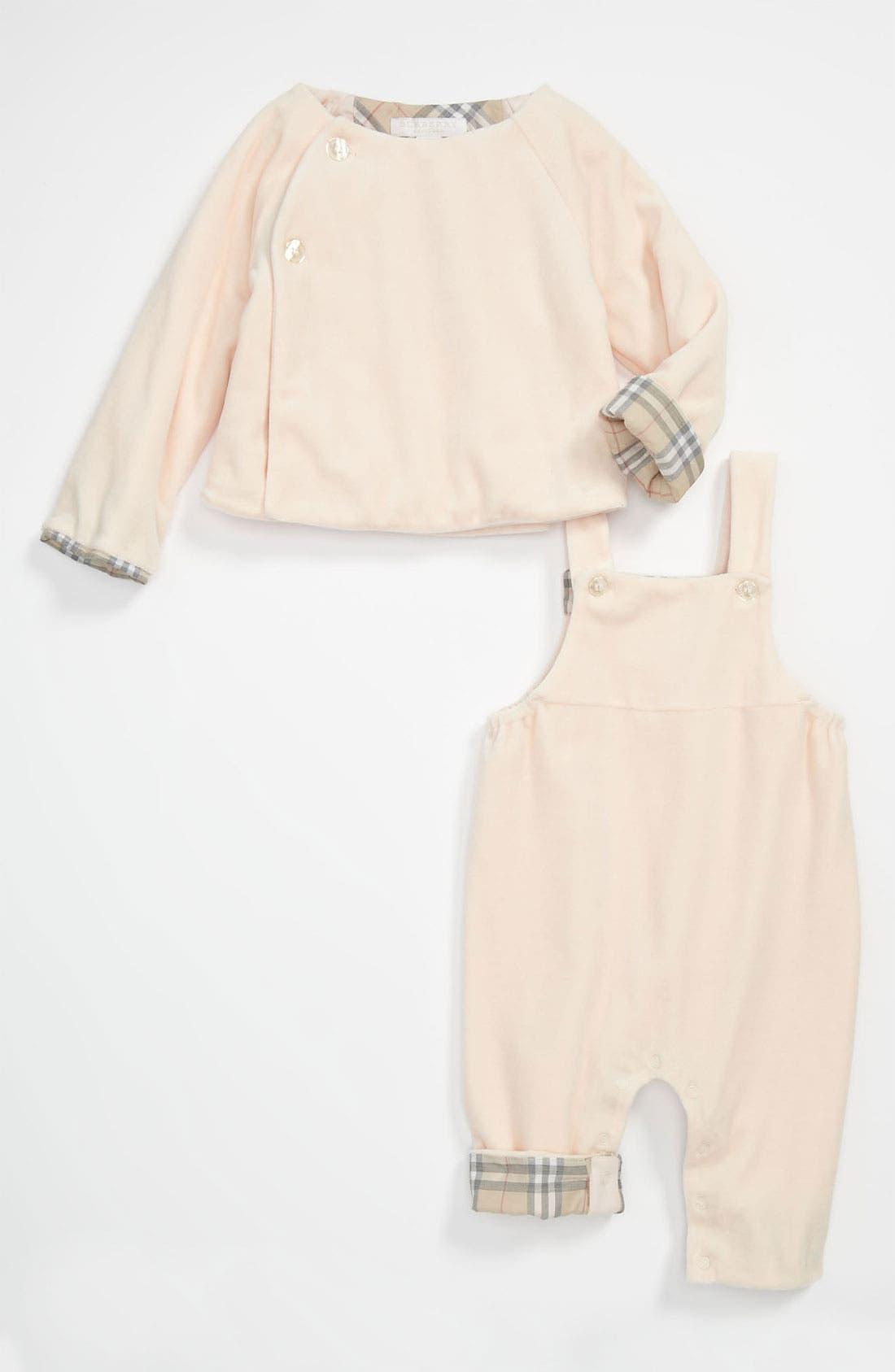 Main Image - Burberry 'Blair' Velour Cardigan & Coveralls (Baby)