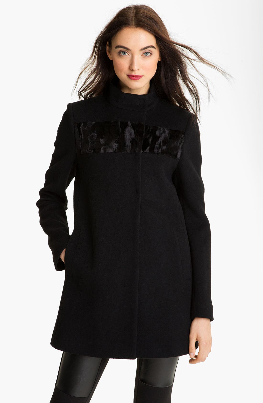 Alternate Image 1 Selected - Elie Tahari Wool Coat with Faux Fur Detail (Petite) (Online Exclusive)