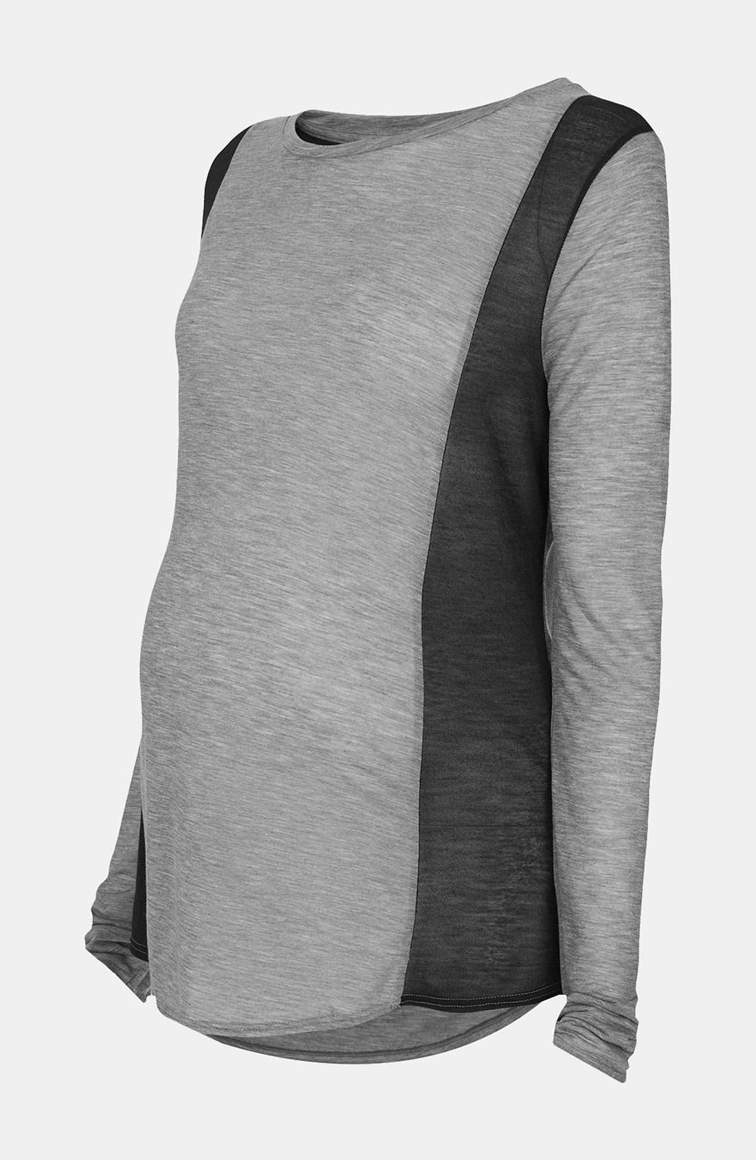 Alternate Image 1 Selected - Topshop Mesh Panel Maternity Top