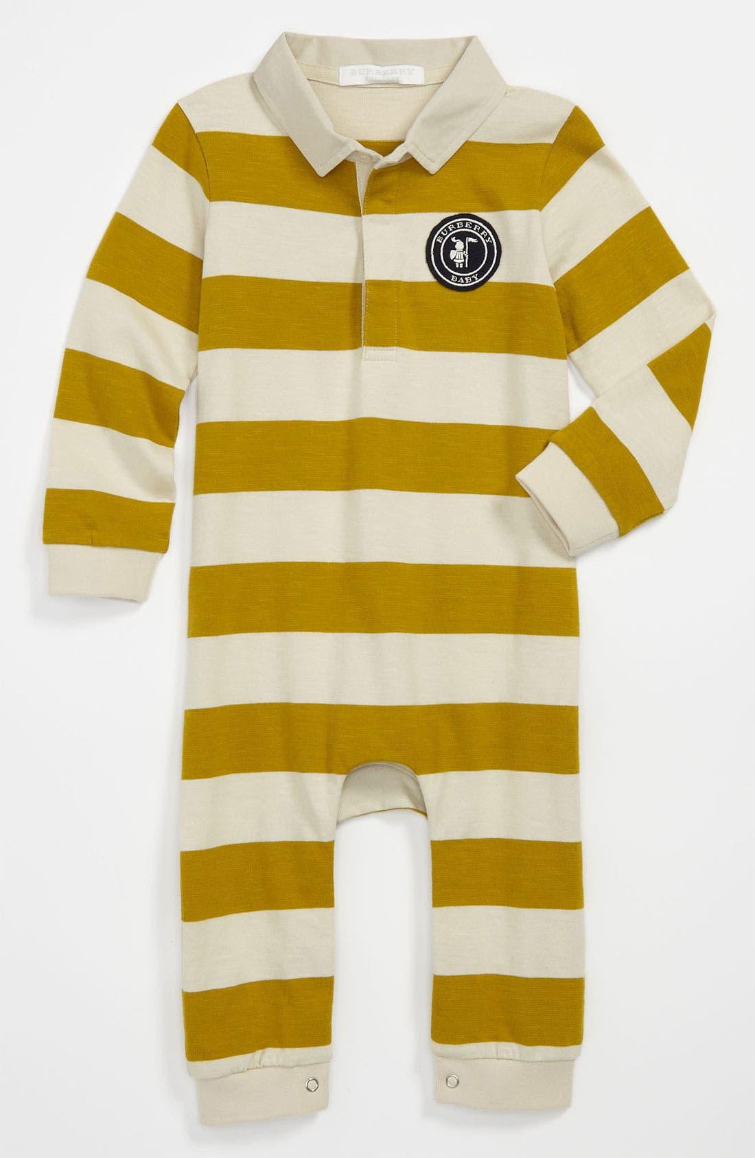 Alternate Image 1 Selected - Burberry 'Dave' Stripe Romper (Baby)