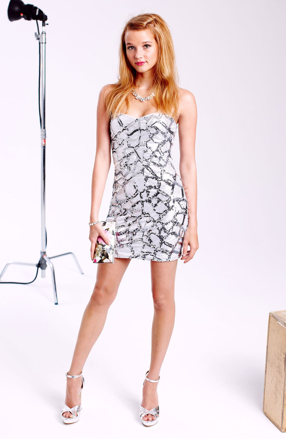 Alternate Image 4  - As U Wish Embellished Animal Print Body-Con Dress (Juniors)