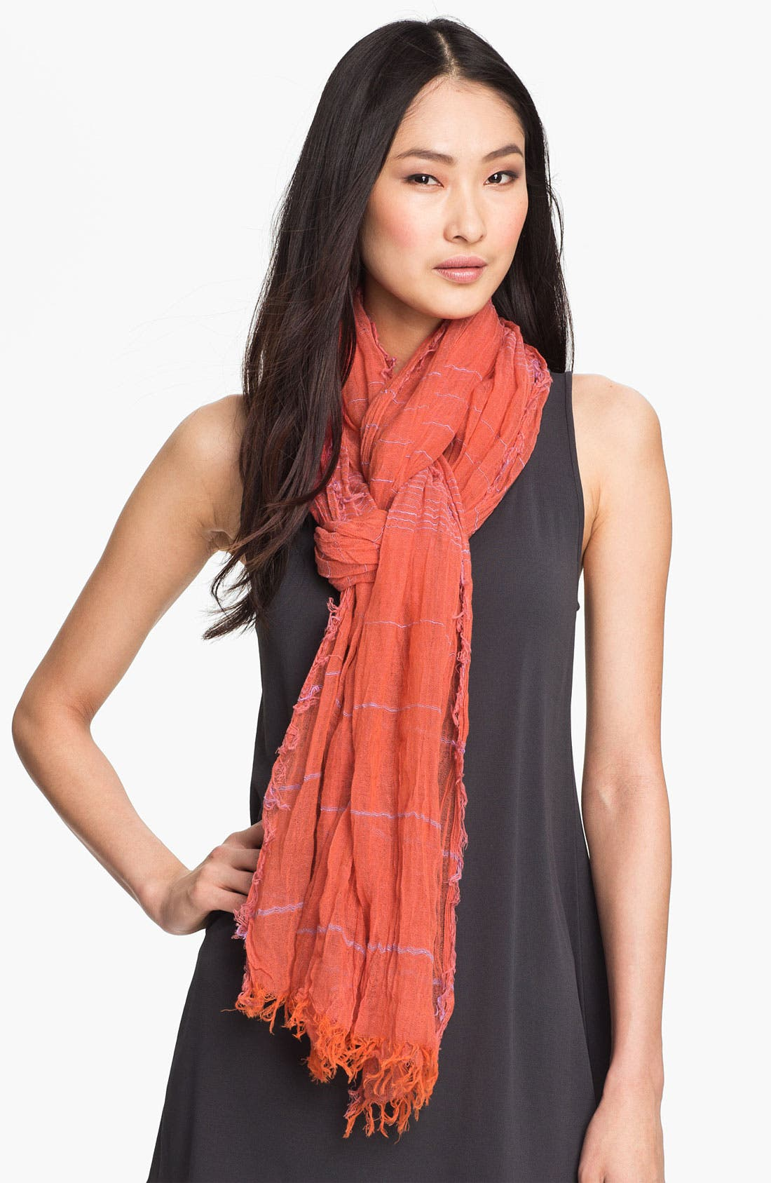 Alternate Image 1 Selected - Eileen Fisher Stripe Organic Cotton Scarf (Online Exclusive)