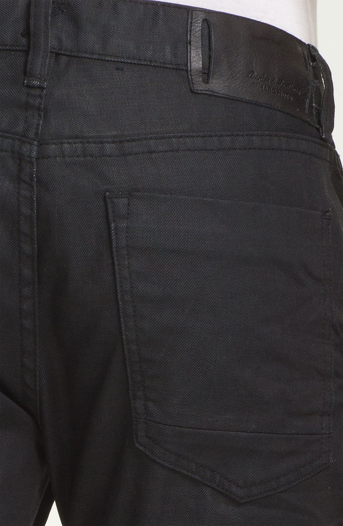 Alternate Image 4  - Denim & Leathers by Andrew Marc Straight Leg Jeans (Black)