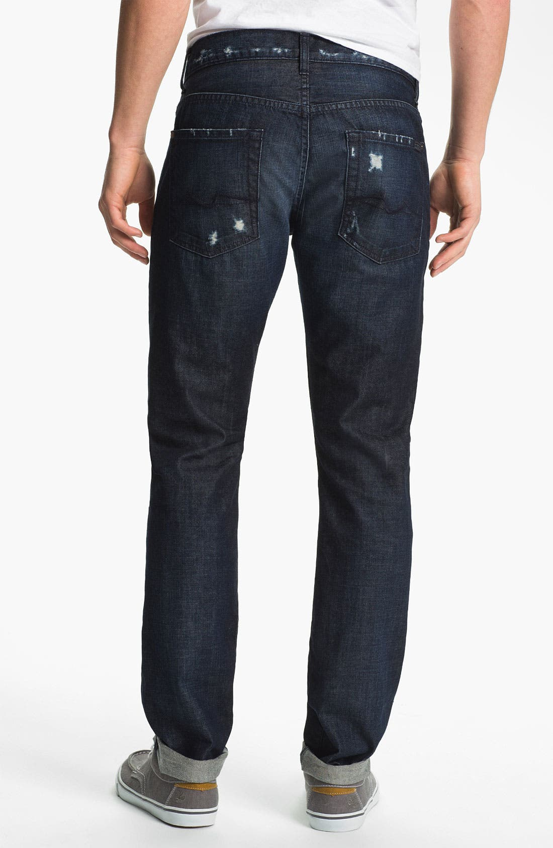 Alternate Image 2  - 7 For All Mankind® Straight Leg Selvedge Jeans (Dark Destroyed)