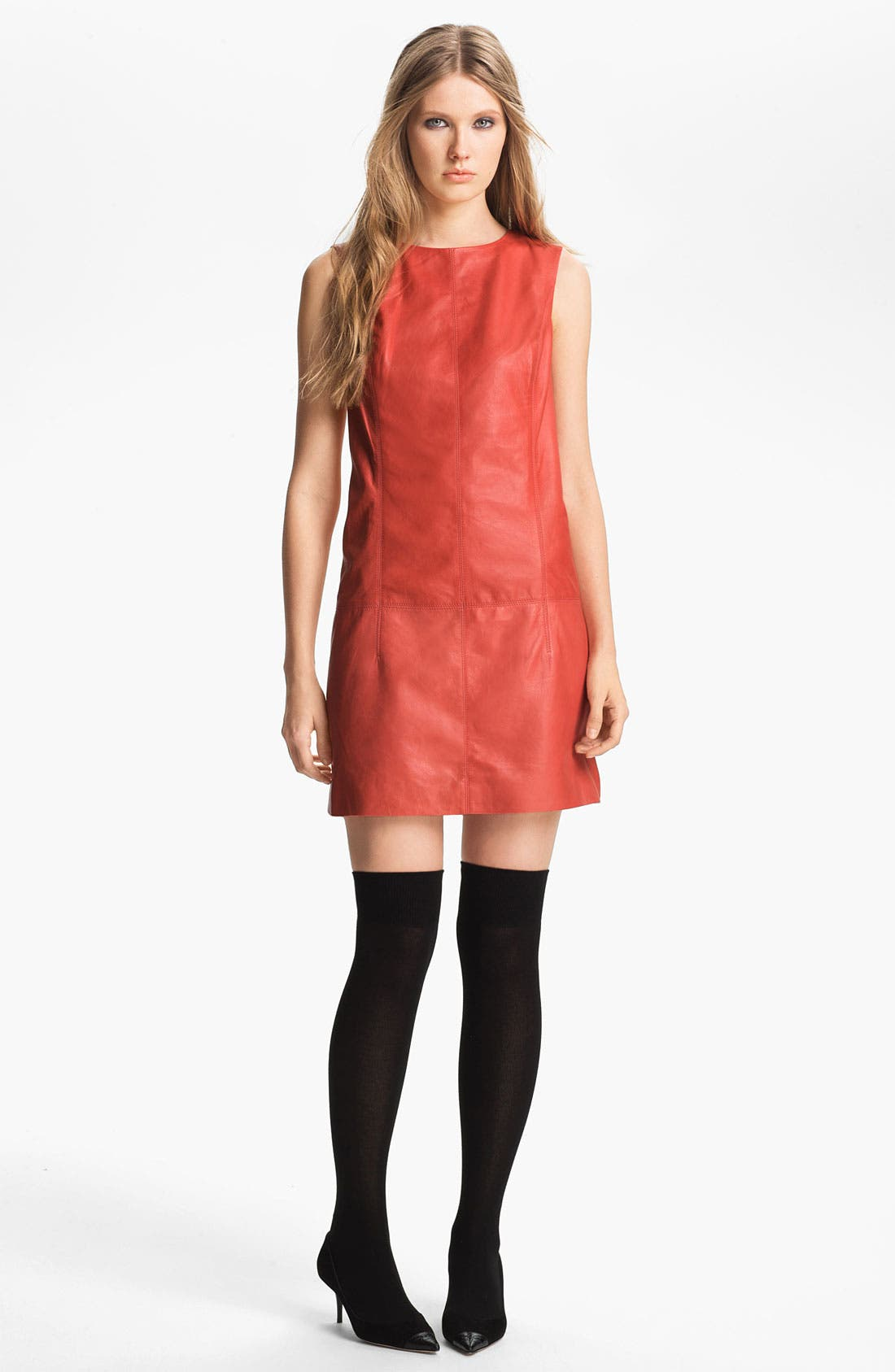 Main Image - Miss Wu Leather Shift Dress (Nordstrom Exclusive)